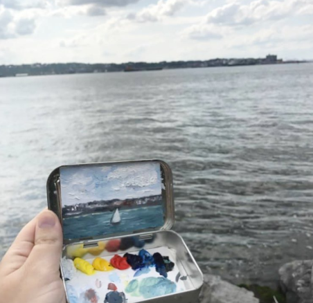 """Painting this afternoon at Shore Promenade in Brooklyn. One of my favorite things of where I live in Brooklyn is being near the water and amazing views of Manhattan and the Verrazano Bridge! I quickly tried to incorporate the beautiful sailboat that passed by and was wishing I was on it!"" • Words + 📷 @alanna.rose.dunn"